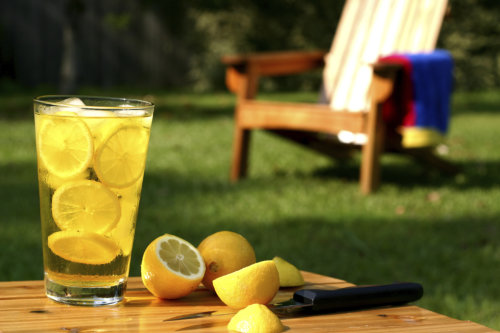 Cup full of water and lemon slices with green grass in background.